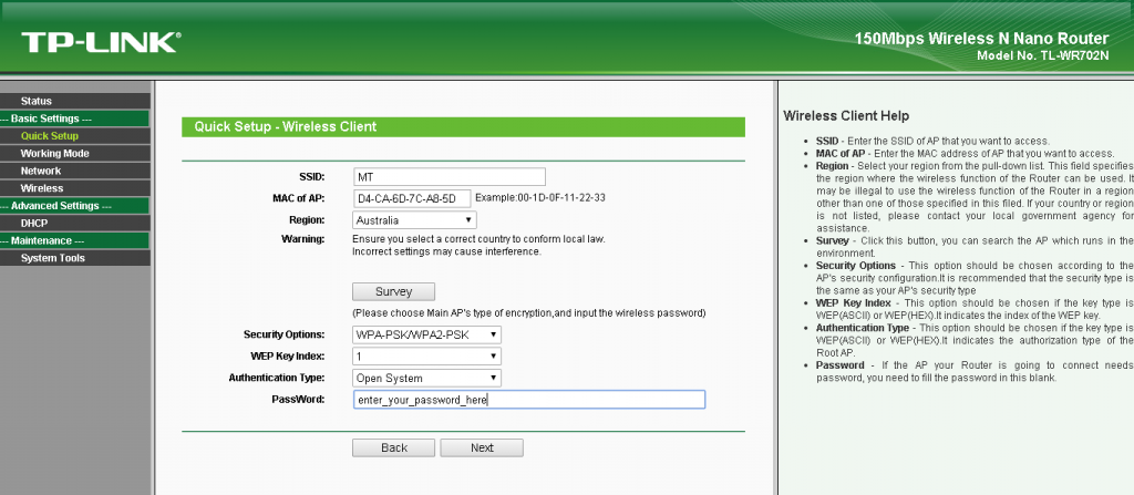TP-Link TL-WR702N (Ethernet Bridge) - URL Networks