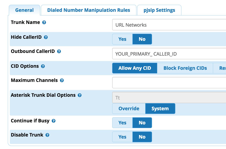FreePBX (Asterisk 12 and above PJSIP) - URL Networks